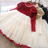 Girls sequins princess dresses 2021 kids puff sleeve knit pearls ruffle collar splicing lace tulle Tutu dress Fall children birthday party clothing S1625