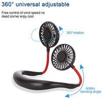 Hands-Free Mini Taşınabilir USB Fan Şarj Edilebilir Açık Spor 360 Derece Dönen Tembel Asılı Boyun Band Taşınabilir Fan Ile LED Lamba GWE8447