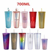 DHL 24 oz Personalized Starbucks Iridescent Bling Rainbow Unicorn Studded Cold Cup Tumbler coffee mug with straw FY4488