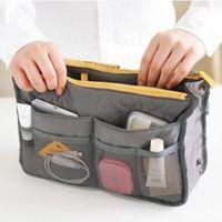 Multifunctional Handle Double Zipper Cosmetic Makeup Bag Foldable Large Capacity Nylon Mesh Toiletries Storage Bag Mini Portable DH0494