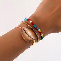 Charm Bracelets IngeSight.Z 3Pcs Set Big Natural Shell Rope Chain Bangles Multi Layered Adjustable Colorful Beaded Jewelry