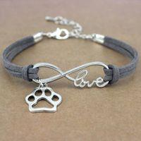 Bangle Bracelet Dog Paws Best Friends Heart Unicorn Animal Infinity Love Charm Bracelets Jewelry Women Men Girl Boy Unisex Gift 20 Colors