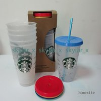 Starbucks Cups Sippy 24Oz 710ML sizes High Quality Plastic Tumblers beverage cup Mermaid Goddess Frappuccinos Color Changing Rainbow Sublimation Blanks