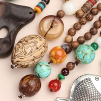 Pendant Necklaces Vintage Lucky Gift Handmade Ethnic Jewelry Horn Fish Buddhist Nepal Necklace Mala Wood Bead