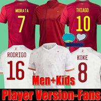 20 21 플레이어 버전 스페인 축구 유니폼 팬 Thiago Rodrigo Lorente Asensio Oyarzabal Moreno Ramos Morata 2021 Espana Koke Camisetas 축구 셔츠 남성 + 키즈 키트