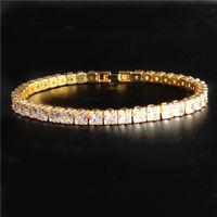 Round Cut Cubic Zircon Tennis Chain Bracelet Full Crystal Diamond Hip Hip Bracelet