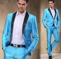 Abiti da uomo Blazer 2021 Comfortable Fit Arrival Sky Blue Satin Groom Tuxedos Slim 2 Pezzi Mens Matrimonio Prom Dinner Party Man