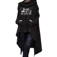 Mujeres con capucha largas irregulares malas tops de bruja kawaii femmes sudaderas patrón divertido algodón cosechado con capucha de gran tamaño vestido 210728