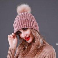 Frauen Mode Winter Hut Erwachsene Weiche Stretchkabel Warme gestrickte Wollhut Outdoor Freizeit Poms Mützen Hut Damen Schädelkappe HWA9287