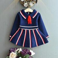 Girl's Dresses Gooporson Vestidos Fall Kids Clothes Bow Tie Stripes Knit Sweater Dress Little Girls Christmas Long Sleeve Princess