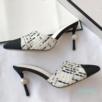 럭셔리 디자이너 여성 트위드 펌프 진주 Stiletto 하이힐 슬리퍼 클래식 여성 신부 웨딩 신발 Chaussures