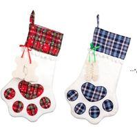 Christmas Stocking Monogrammed Pet Dog Paw Gift Bag Plaid Christmas Tree Ornaments Xmas Decorations Party Decor 8 Styles HHF10295