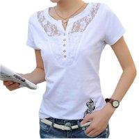 FEKEHA Sommer T-Shirt Frauen Casual Dame Top Tees Baumwolle Weiß T-Shirt Weibliche Marke Kleidung T-Shirt Top T-Stück Plus Größe 4XL 210325