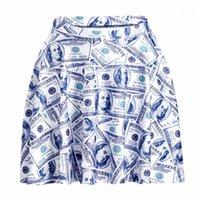 Moda de verano Mujeres 3D Otro Patrón de Dólar Impreso Mini Falda Mid Cintura Medianas Falda Plisada Linda Female sexy1