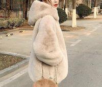 겨울 두꺼운 따뜻한 가짜 모피 코트 새로운 여성 긴 소매 후드 모피 재킷 코트 패션 outwear C8CL #