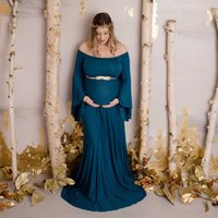 New Shoulderless Maternity Dresses Long Women Pregnancy Photography Prop Maxi Maternity Gown Dress For Pregnant Photo Shoot 2020 X0902