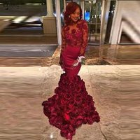 Casual Dresses Burgundy Mermaid Evening Gowns Sexy Backless Vintage Lace 3D Flowers African Black Girls Prom Long Sleeve Formal