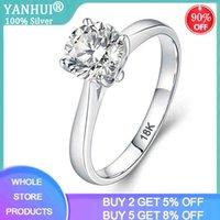 95% discount! Yanhui 925 sterling silver certificate Royal 18K platinum 2 Lab Diamond Wedding Ring women's giftED0W