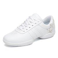 Zapatos de vestir blancos aerobios para niños adultos gimnasia gimnasia deportes jazz baile para mujeres porristas para mujer size44 msw9