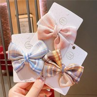 Set Cotton Plaid Printed Bowknot Hair Clips For Cute Girls B...