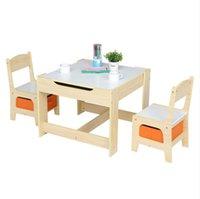 Eetkamermeubels Kinderen Houten en stoel Set met twee opbergzakken (één tafel twee bureau)