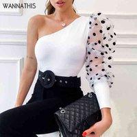 Wannathis puff sleeve patchwork dot stampa donne camicetta elegante sexy box skew scollo a spalla sottile moda molla nuovo 201201