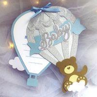 Tebrik Kartları Teddy Bear Davetiyesi, Hava Balonu El Yapımı Bebek Duş