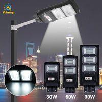 Solar Street Light 30W 60W 90W Radar Sensor Outdoor Road Lamp Integrated Sun Panel Lights with Remote Pole