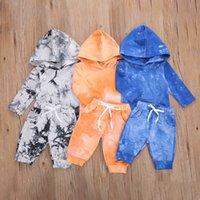 Giyim Setleri 2 adet / takım Bahar Sonbahar Çocuk Giysileri Set Hoodie + Jogger Pantolon Suit Tie-Boya Baskılı Unisex Rahat Eşofman C0225