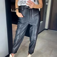 Women's Pants & Capris Puloru Classic PU Leather Straight-Leg Autumn Fashion High Waist Button Pencil Trousers With Big Pockets Solid