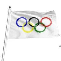3x5 ayak bayrak kalın polyester Olimpiyat halkaları afiş grommets ile 90 * 150 cm HWA7448