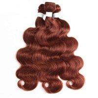 Körperwelle Wellenförmige braune braune, menschliche Haareinschuß mit Spitzenverschluss 3 Bündel mit Schließung 4x4 Auburn braune Haarverlängerung mit Schließung