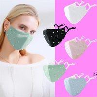 패션 디자이너 성인 코튼 진주 얼굴 마스크 새해 발렌타인 데이 야외 실내 파티 착용은 PM2.5 필터를 넣을 수 있습니다 HWB10056