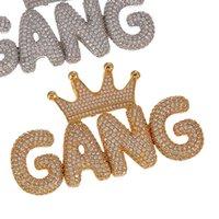 Hip Hop Iced Out Crown Bubble Words Nombre personalizado Cubic Zircon Cadena Colgantes Collares para Hombres Joyería 434 Q2