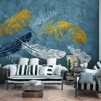 Wallpapers Custom Nordic Simple Blue Watercolor Feather 3D Wall Paper Home Industrial Decor Mural Bedroom Self-adhesive Wallpaper