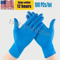 EUA Stock Blue nitrile luvas descartáveis em pó (não látex) - pacote de 100 peças luvas anti-derrapante luvas anti-ácido FY9518