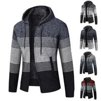 Men's Sweaters Hooded Knitwear Autumn Winter Thick Fleece Sweater Coat Loose Casual Large Size Jacket Long Sleeve Striped Cardigan