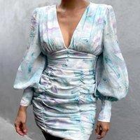 Casual Dresses Summer Office Lady Lantern Sleeve Sheath Party Dress Elegant Vintage Slim Mini For Women Sexy V Neck Buttons