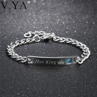 """V.ya corona cristallo """"la sua regina"""" il suo re """"braccialetti di coppia moda moda unica gioielli in acciaio inox per le donne uomini dropship link, catena"""