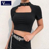 Vangull Noir Slim Sexy Summer T-shirt Femmes Front Découpé Découpé T-shirt Femme Collier Collier Court Sleeve Sleeve Tshirt1