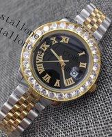 عالية الجودة بوتيك الأزياء ووتش 43 ملليمتر الكلاسيكية الفولاذ المقاوم للصدأ التلقائي السطح الروماني الميكانيكية مع الماس للرجال رجال الأعمال للماء
