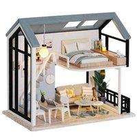 Cutebee Diy Dollhouse Kit Kit Muñeca de madera Casas Muebles en miniatura con juguetes LED para niños Regalo de Navidad QL02 210910