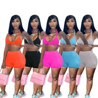 2021 Summer Women Tracksuits Fashion Sexy Low Cut Suspender Vest + Shorts Casual Solid Color 2 Piece Sets Plus Size Clothing