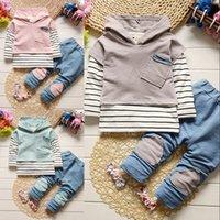 Vêtements de garçons Trois pièces Ensembles neufs Mode Patch Stripe Automne Boy Sweats Hoodies Vest T-Shirts Jeans Enfants Vêtements Enfants Tenue 797 x2