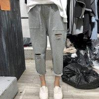 Women's Jumpsuits & Rompers Korean hole baggy sweatpants fashion oversize casual female summer elastic waist ankle-length athletic 100 kg Y34Z