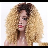 18Inches Afro Kinky Curly With Bangs Synthetic Long Wigs For Black Women Nature Heat Resistant Brown Blond Wig Tzxib Gip7E