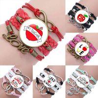 Amour à enseigner des bracelets en cuir Charme Bracelets Bracelets pour Femmes Hommes Enseignant Planificateur Assistant Enseignants Cadeaux Bracelet cadeau