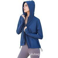 zipper Lulu 2021 new hooded fitness Jacket Women's Lulu casual loose running fitness yoga suit