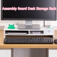 3 Layers Assembly Computer Screen Riser White Wooden Monitor Stand Office Storage Rack with Drawers Table Organizer Phone Pen Holder Stress Release