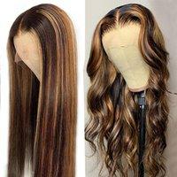 Brazylijski Highlight Straight Pre-Zieszany 13x4 Ludzkie Włosy Peruvian Body Loose Deep Lace Front Wig Curly 4/27